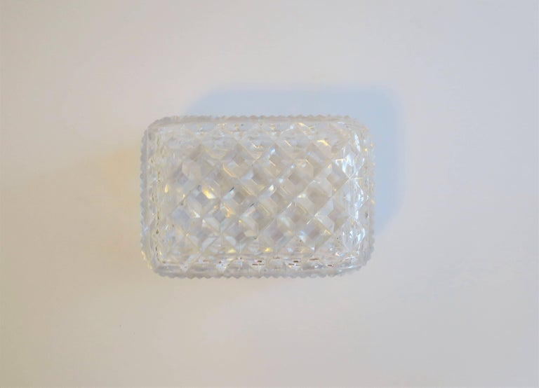 Vintage Diamond Quilted Crystal Jewelry Box For Sale 1