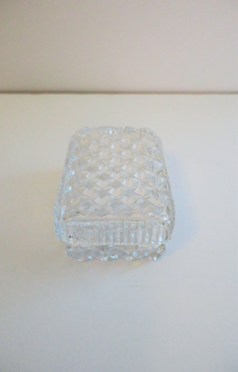 Vintage Diamond Quilted Crystal Jewelry Box For Sale 4