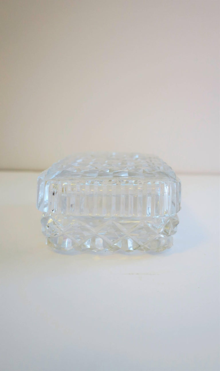 Vintage Diamond Quilted Crystal Jewelry Box For Sale 5