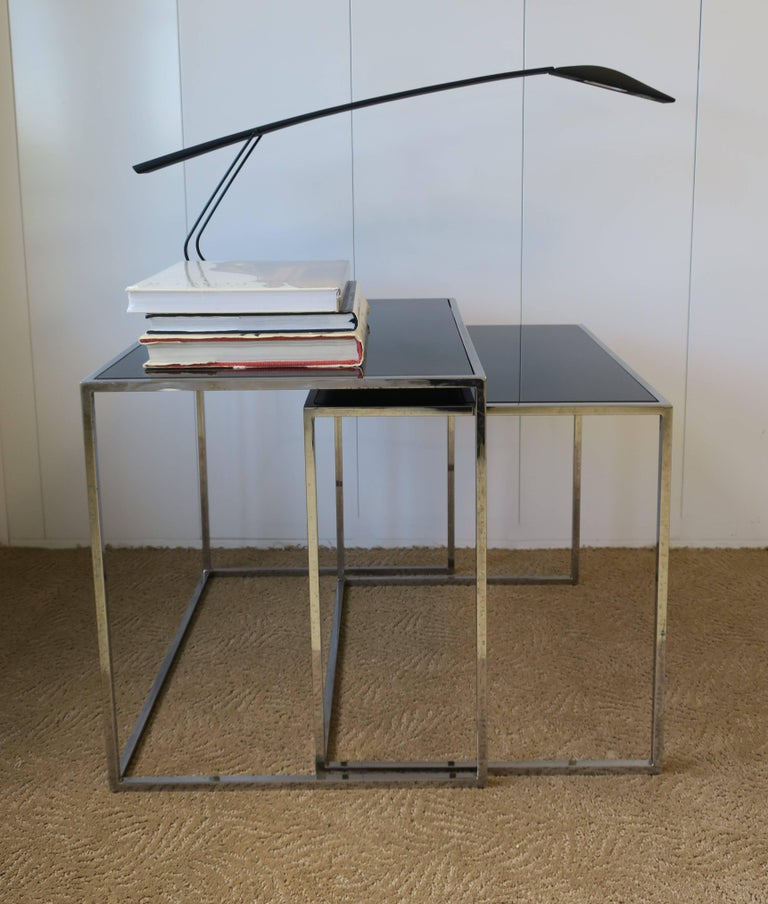 Vintage Minimalist Chrome And Black Glass Nesting Or End Tables For Sale At 1stdibs