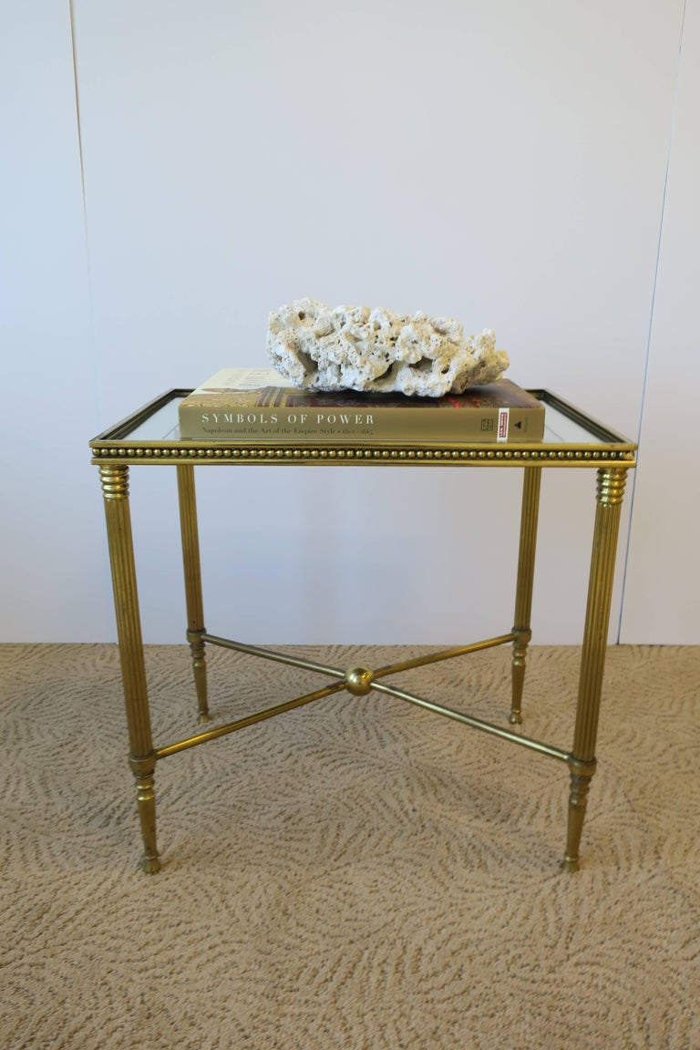 Directoire Midcentury Italian Brass and Glass End or Side Table For Sale