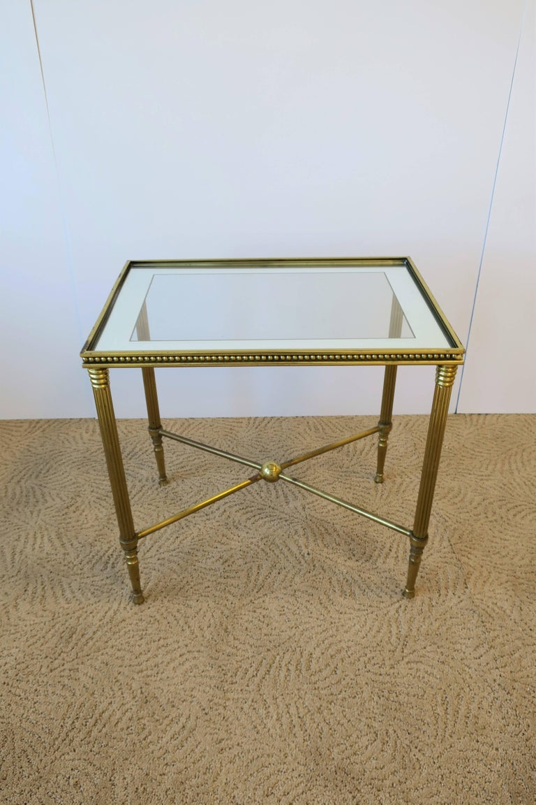 Midcentury Italian Brass And Glass End Or Side Table For