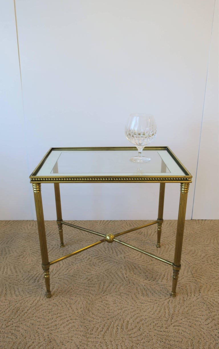 Mirror Midcentury Italian Brass and Glass End or Side Table For Sale