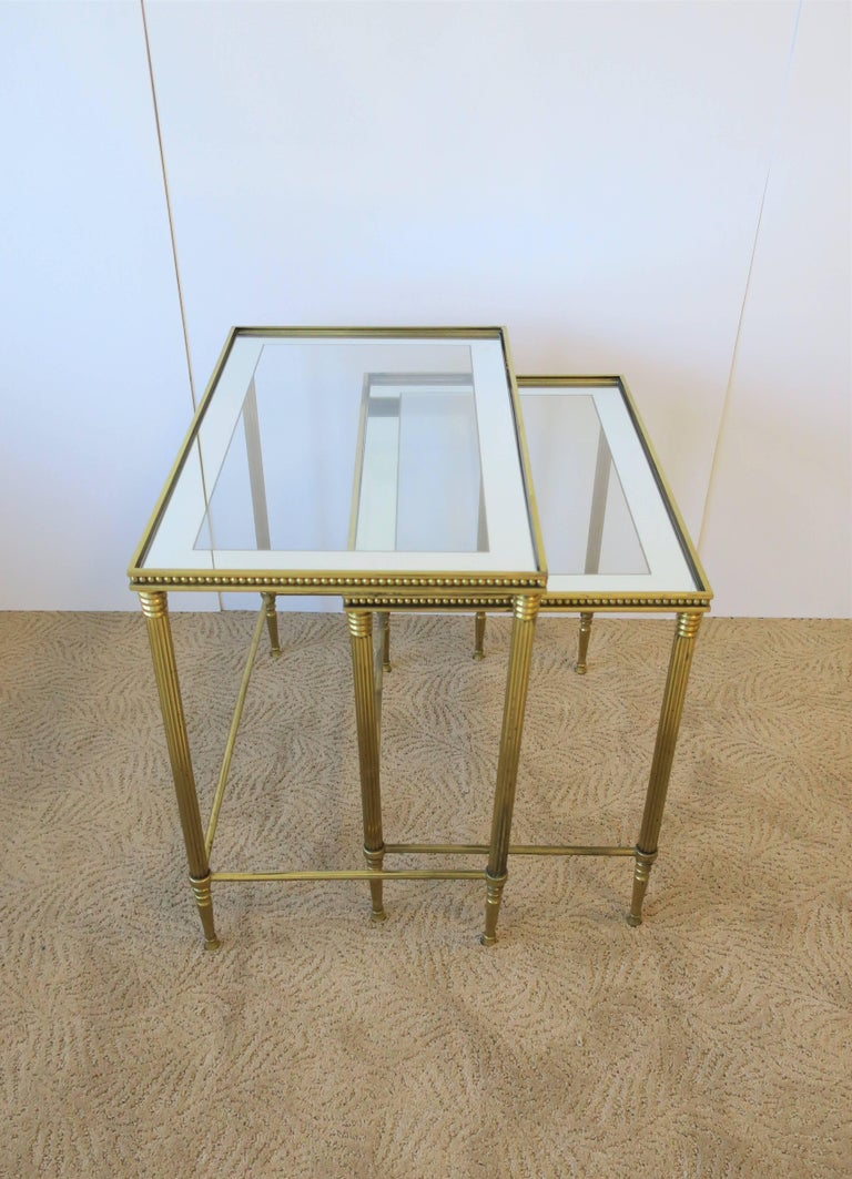 Vintage Set Of Italian Brass And Glass Nesting Tables Italy 1960s For Sale At 1stdibs
