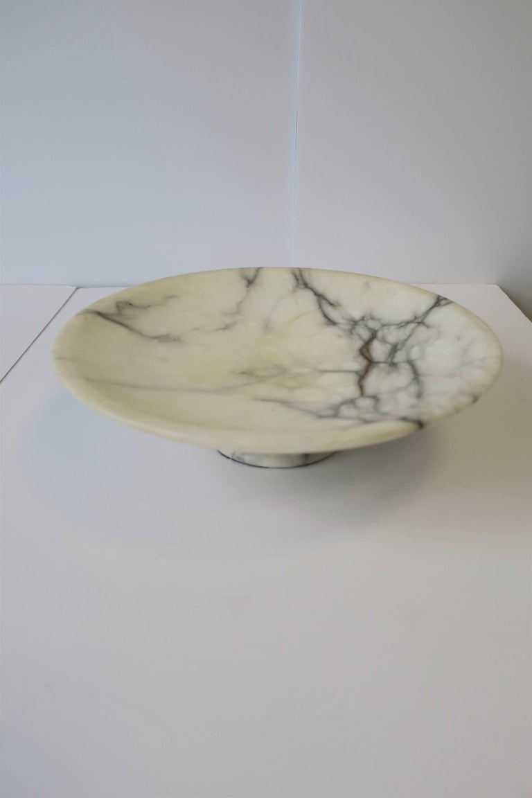 Italian White And Black Marble Compote Or Centerpiece Bowl