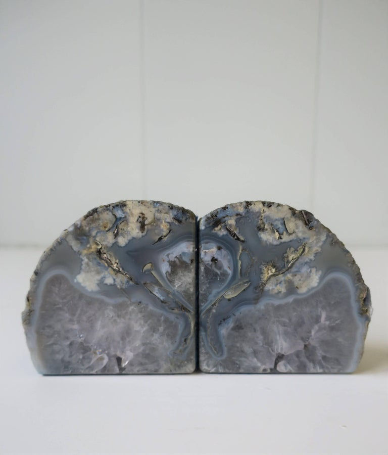 Pair or set, available here for $475. A beautiful pair of vintage blue and white natural geode rock crystal bookends or decorative objects. These geode rock crystals work well on a bookshelf or equally well as stand alone objects as show in images 4