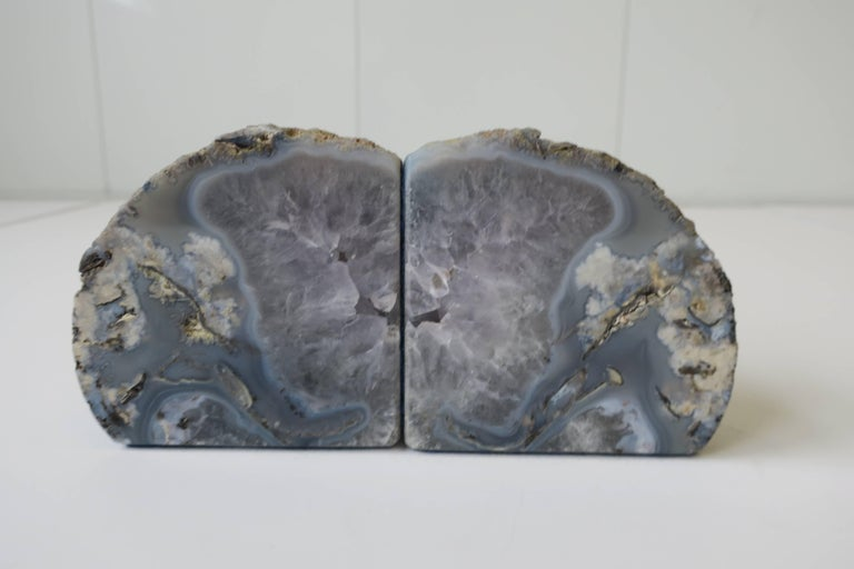 Organic Modern Pair Vintage Blue and White Geode Rock Crystal Bookends or Decorative Objects For Sale