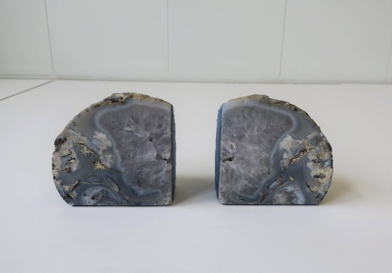 Pair Vintage Blue and White Geode Rock Crystal Bookends or Decorative Objects For Sale 1