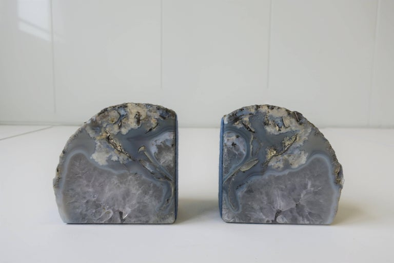 Pair Vintage Blue and White Geode Rock Crystal Bookends or Decorative Objects For Sale 2