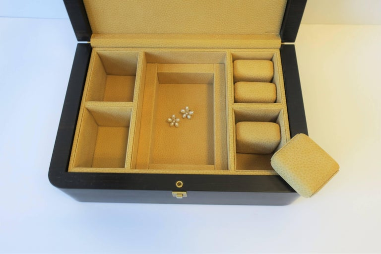 Italian Leather Jewelry Box by Luxury Maker Ghiso For Sale 1