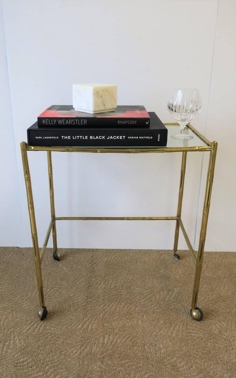 Mid-20th Century Italian Glass and Brass Bamboo Bar Cart For Sale