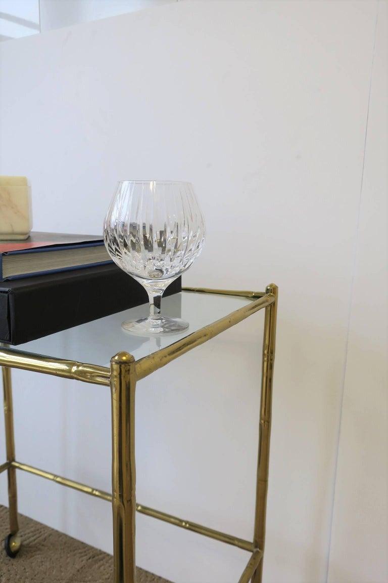 Italian Glass and Brass Bamboo Bar Cart For Sale 1