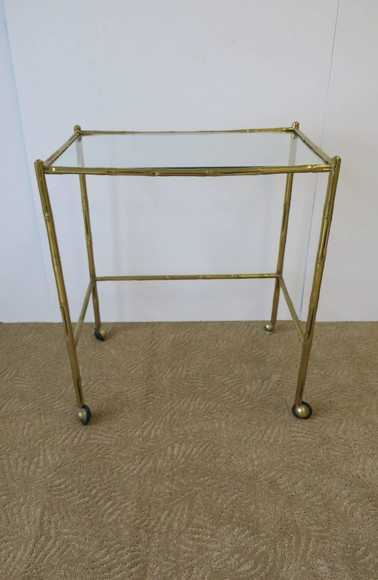 Italian Glass and Brass Bamboo Bar Cart In Good Condition For Sale In New York, NY