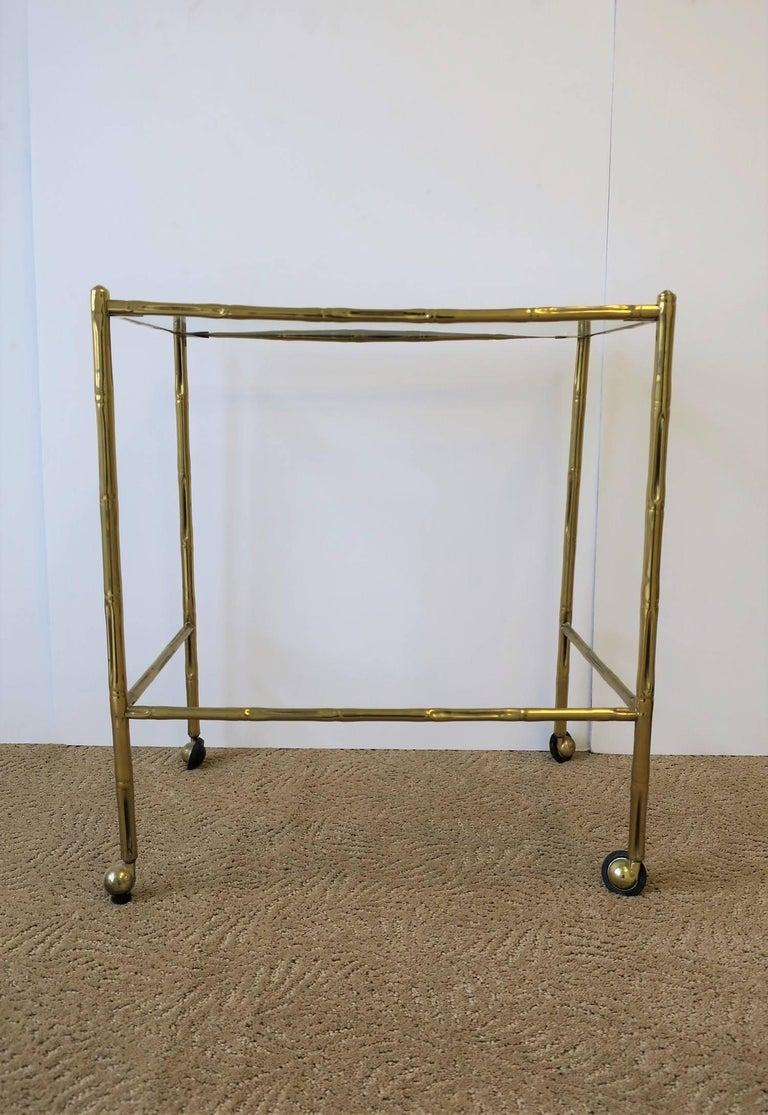 Italian Glass and Brass Bamboo Bar Cart For Sale 2