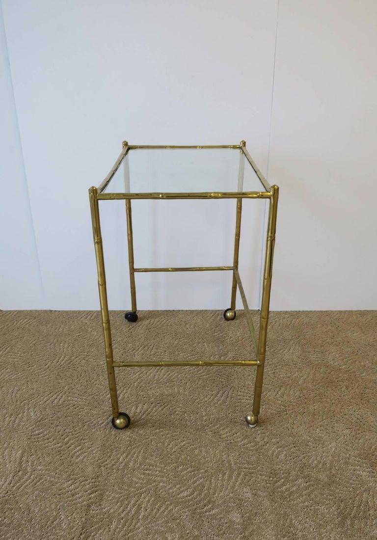 Italian Glass and Brass Bamboo Bar Cart For Sale 3
