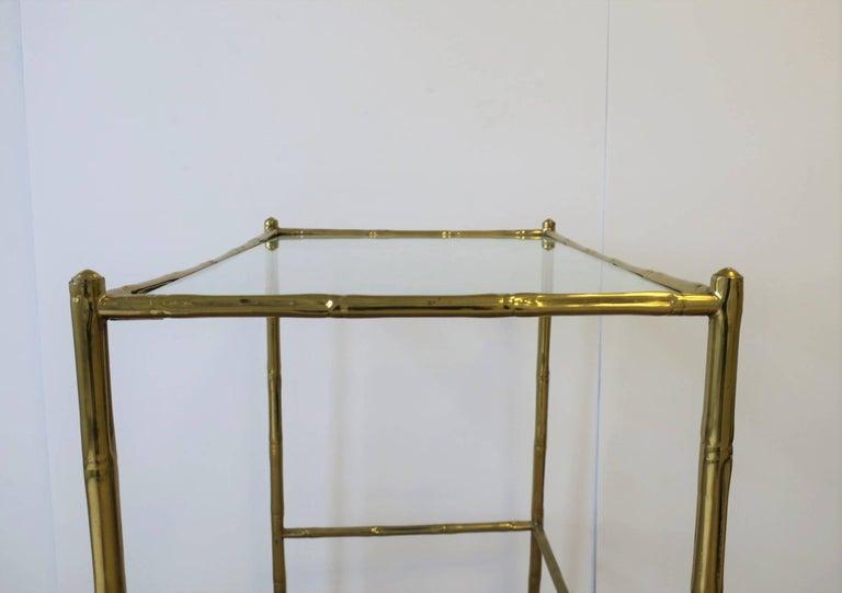 Italian Glass and Brass Bamboo Bar Cart For Sale 4