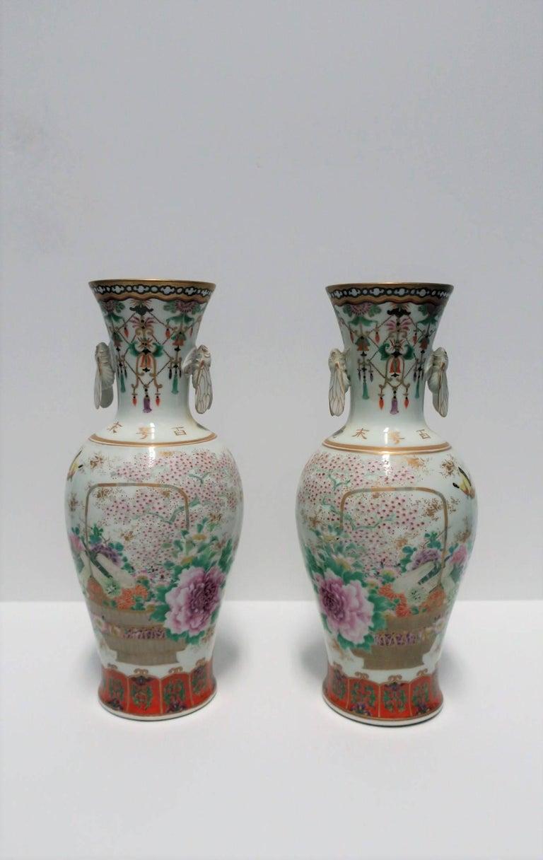 Pair of White and Black Japanese Art Deco Satsuma Vases 3