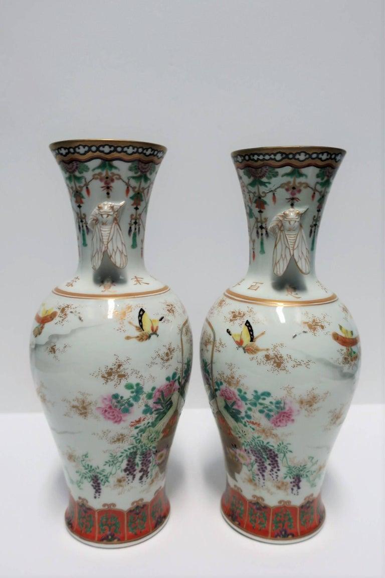 Pair of White and Black Japanese Art Deco Satsuma Vases 4