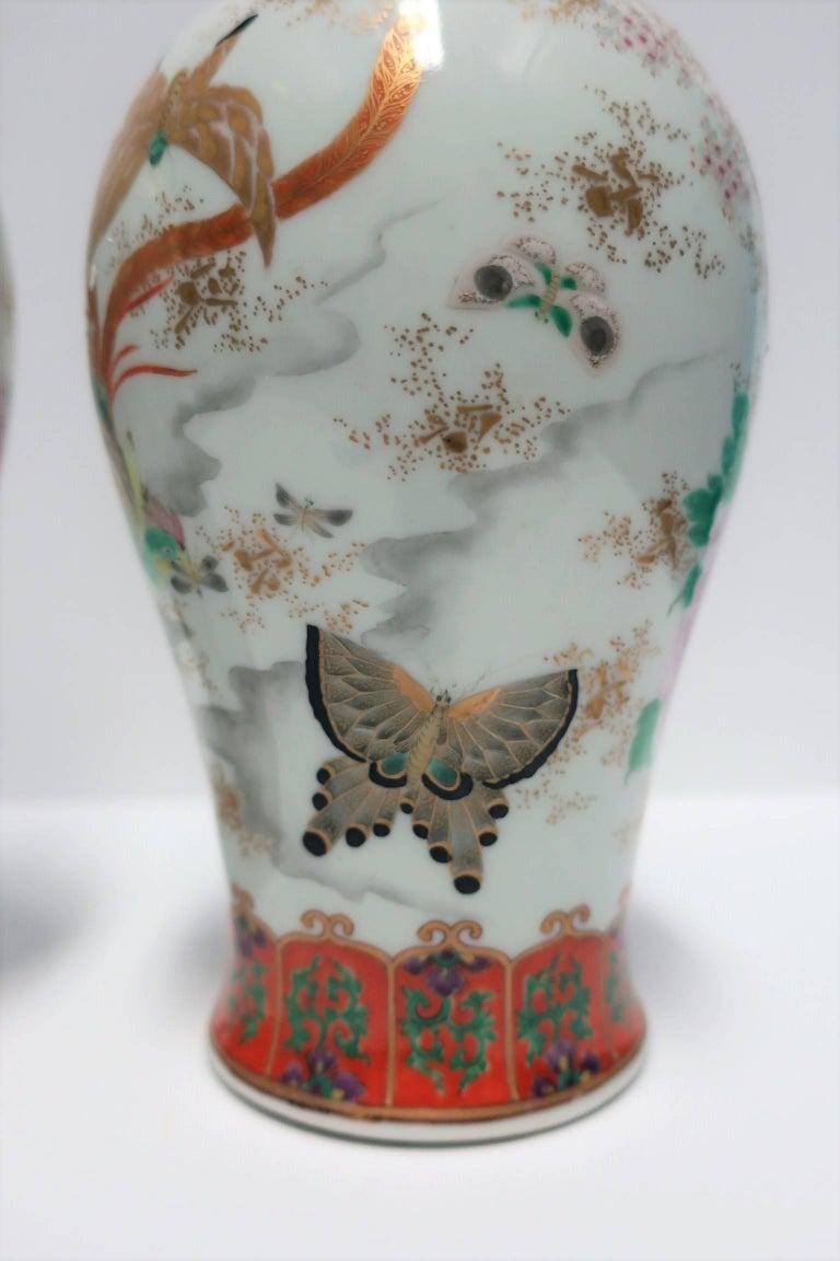 Pair of White and Black Japanese Art Deco Satsuma Vases 5