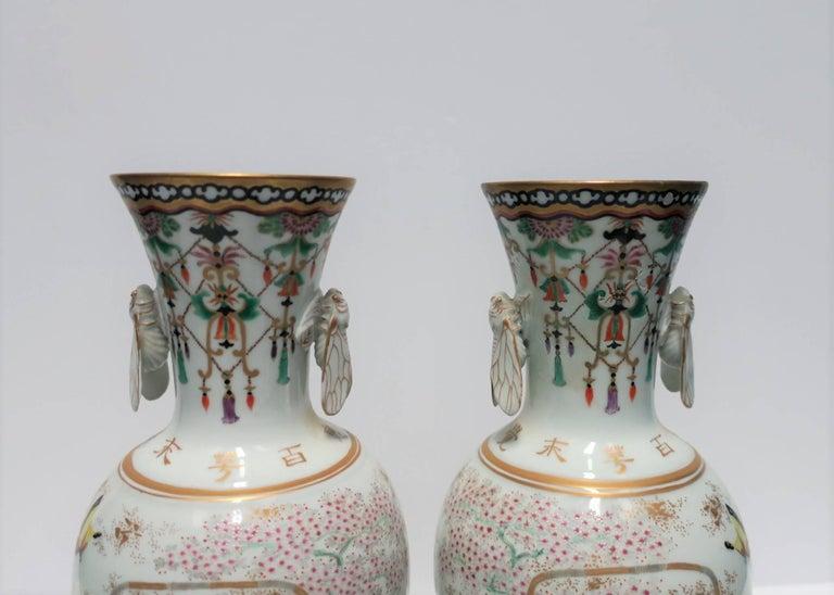 Pair of White and Black Japanese Art Deco Satsuma Vases 7