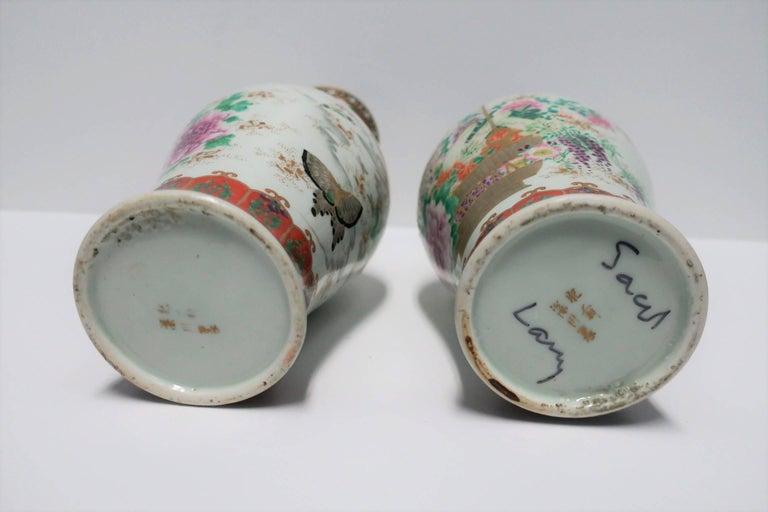 Pair of White and Black Japanese Art Deco Satsuma Vases 8