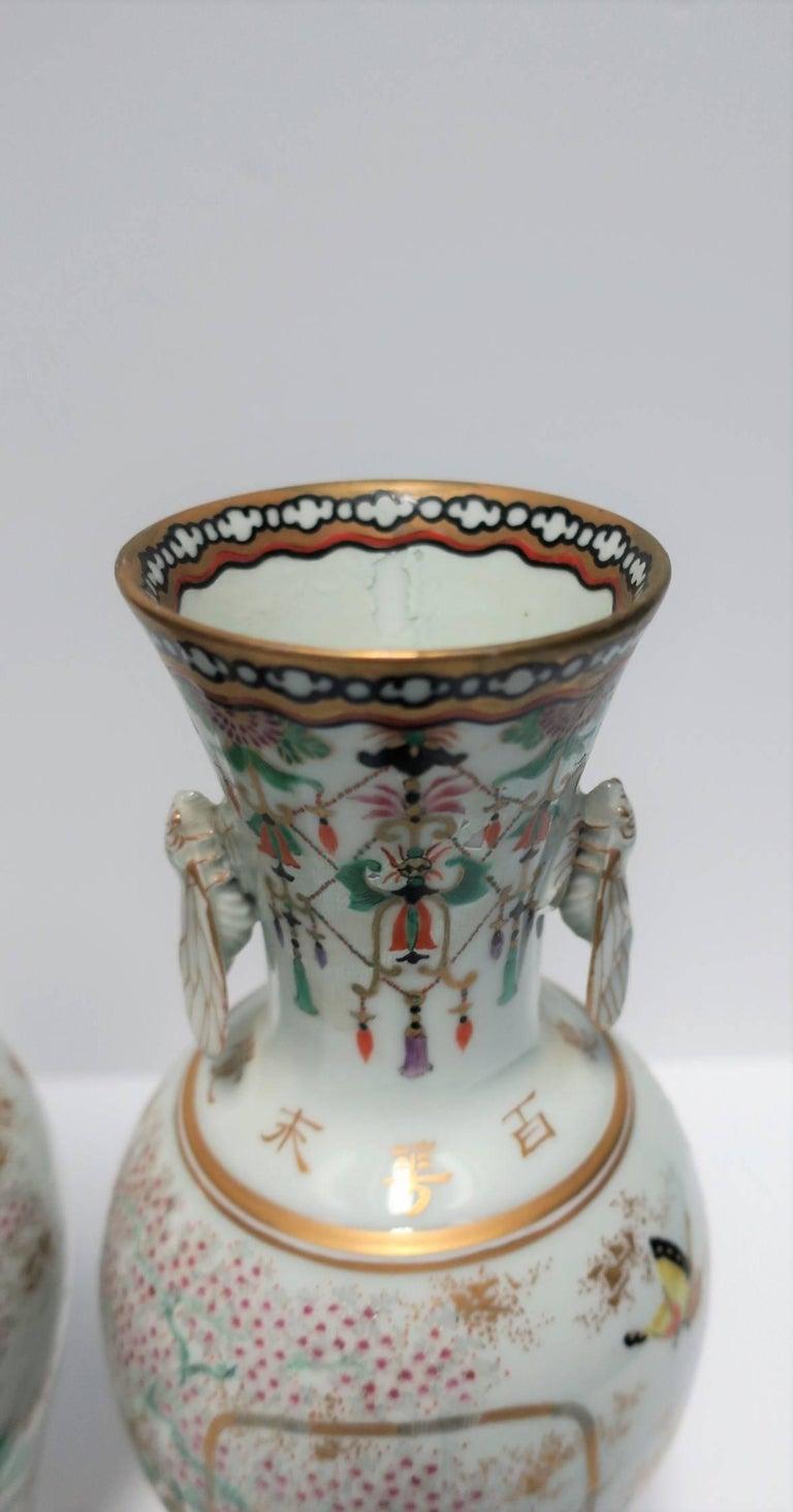 Pair of White and Black Japanese Art Deco Satsuma Vases 10