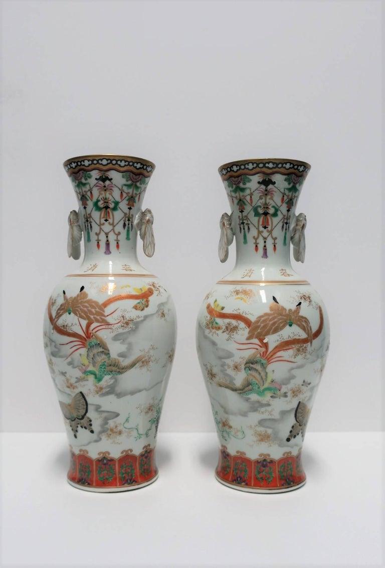 Pair of White and Black Japanese Art Deco Satsuma Vases 2