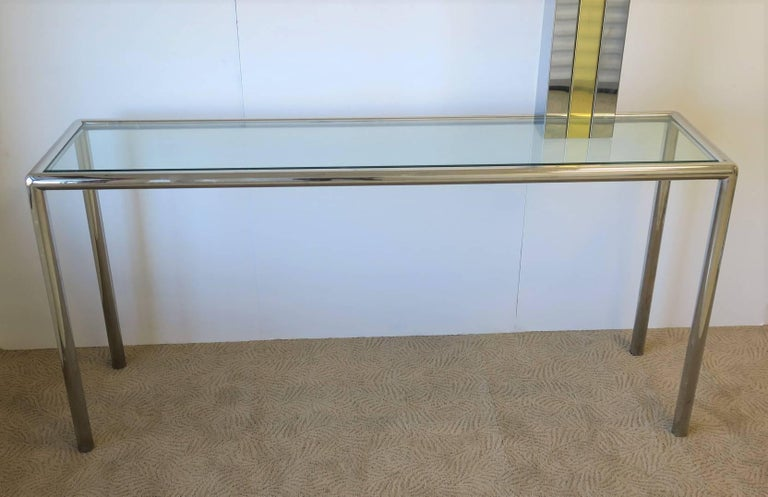 American Modern Chrome and Glass Console Table For Sale