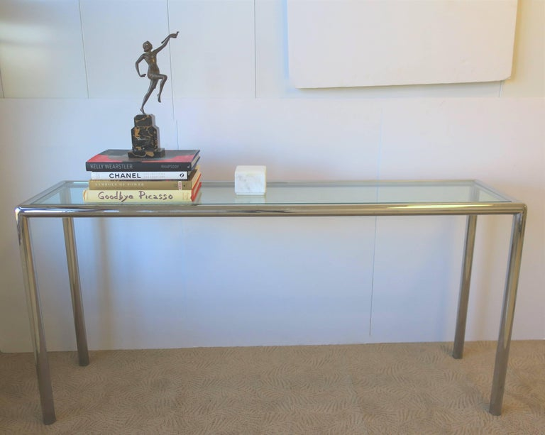 Tempered Modern Chrome and Glass Console Table For Sale