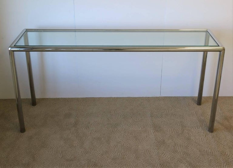 Late 20th Century Modern Chrome and Glass Console Table For Sale
