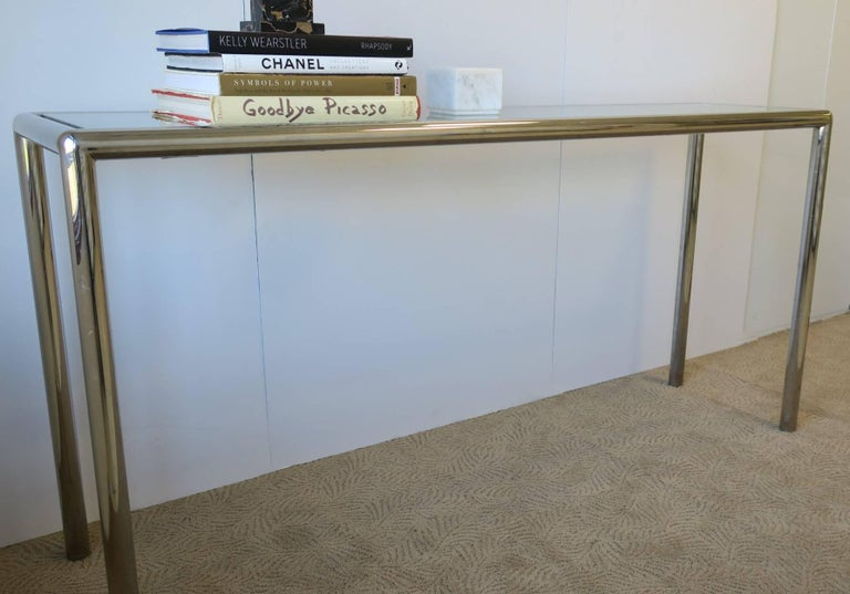 Modern Chrome and Glass Console Table For Sale 1