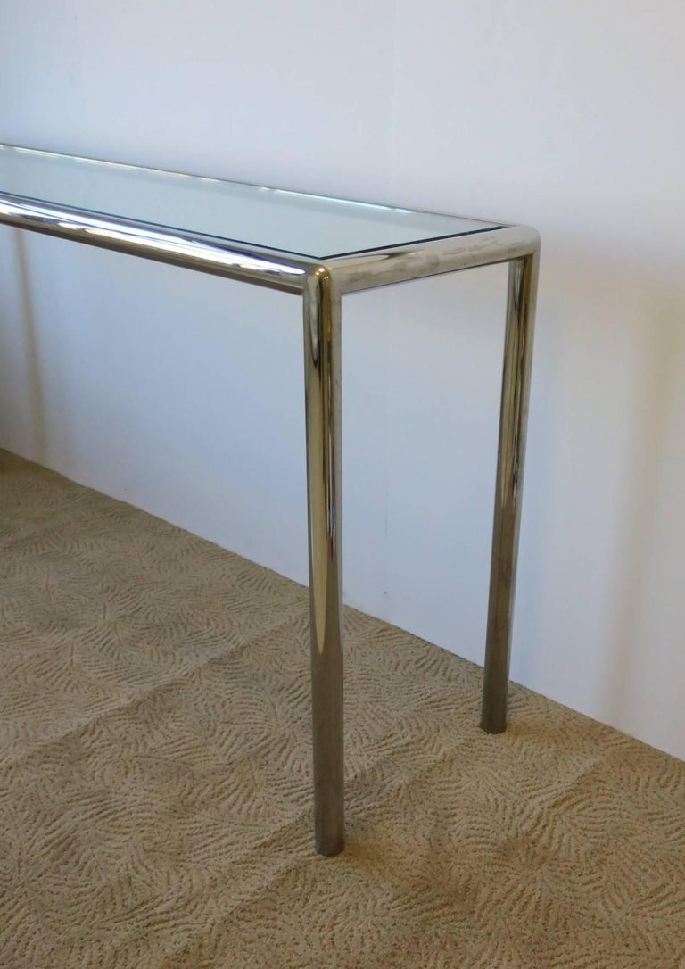 Modern Chrome and Glass Console Table For Sale 2