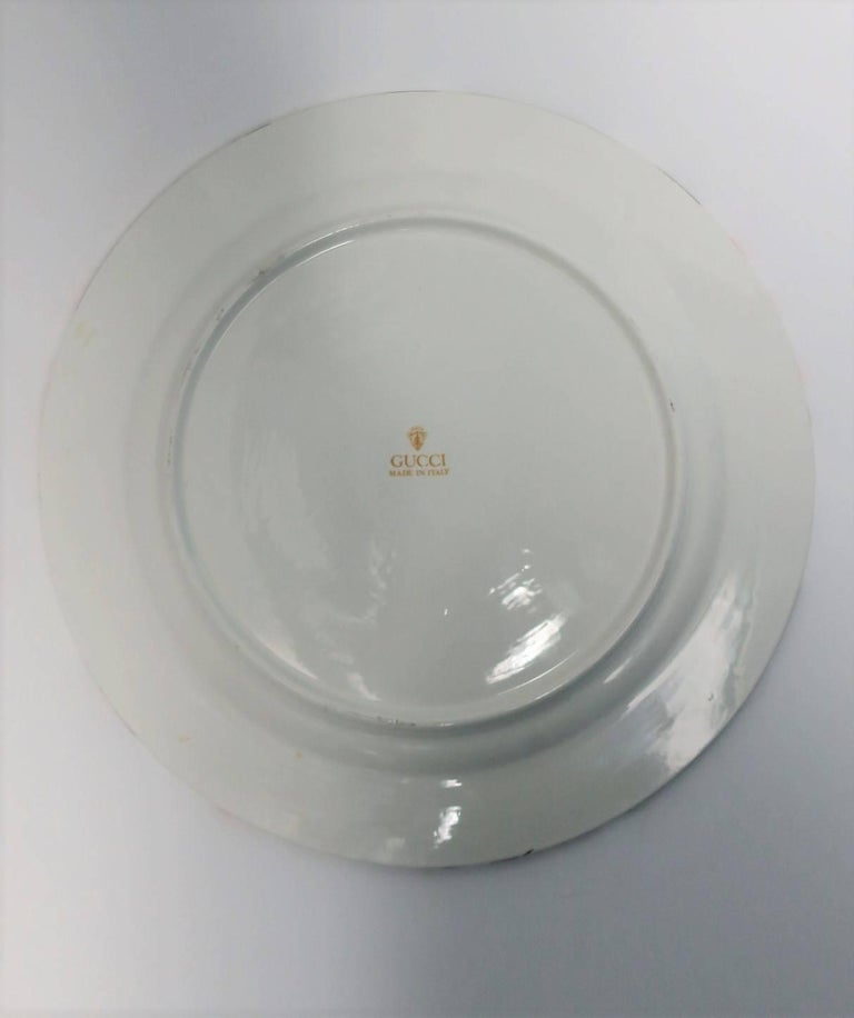 Glazed Gucci Plate in Black, White, and Red For Sale