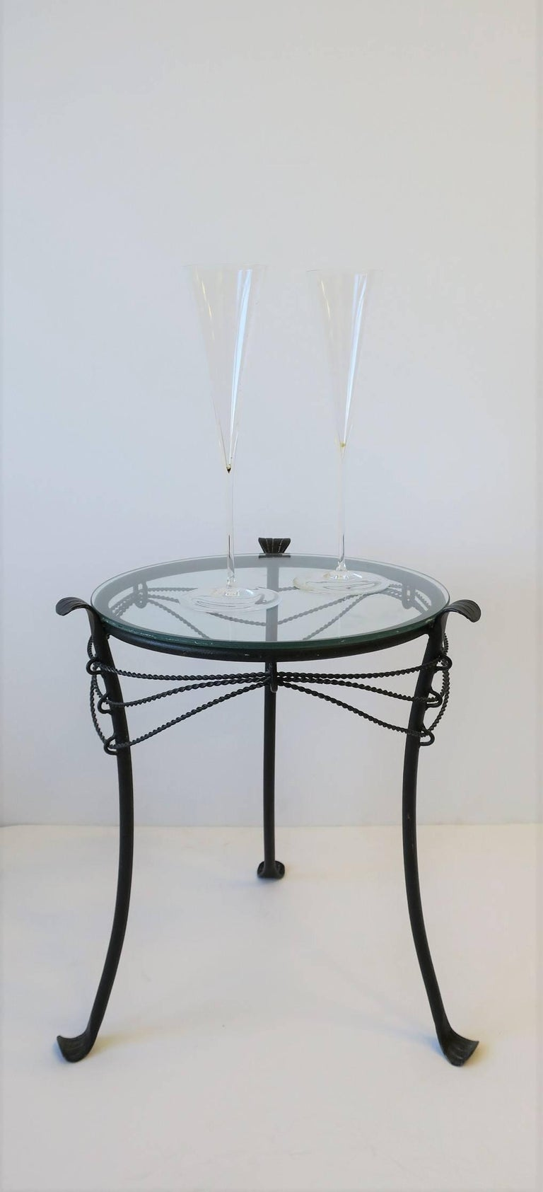 Contemporary Small Gueridon Metal Round Side Table For Sale