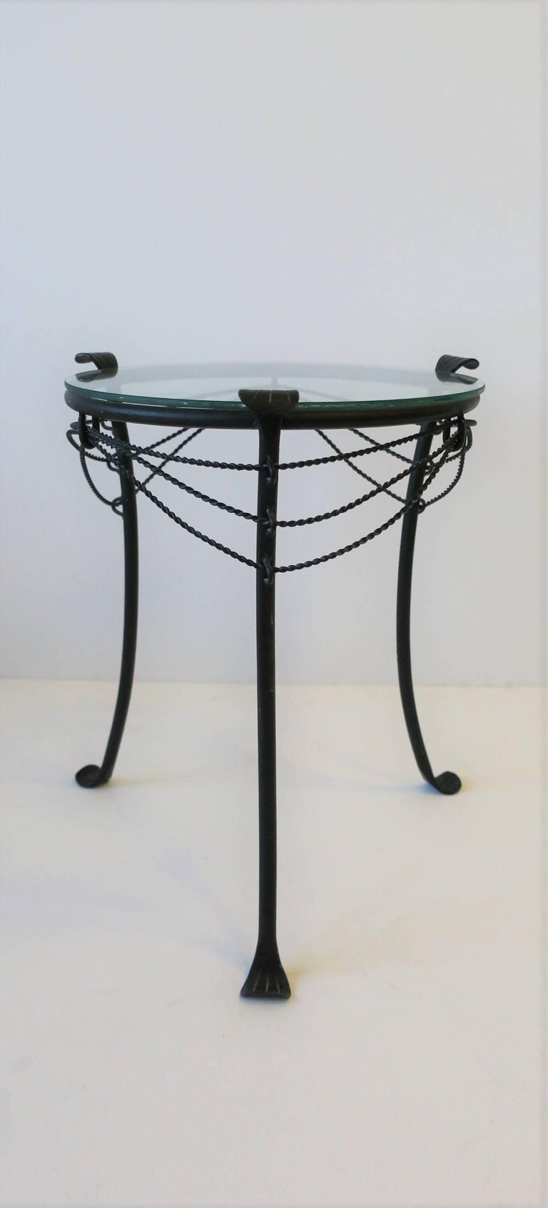 Glass Small Gueridon Metal Round Side Table For Sale