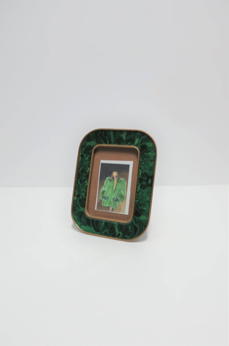 Modern Green Malachite Lacquer and Brass Picture Frame In Good Condition For Sale In New York, NY