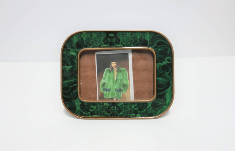 Modern Green Malachite Lacquer and Brass Picture Frame For Sale 1