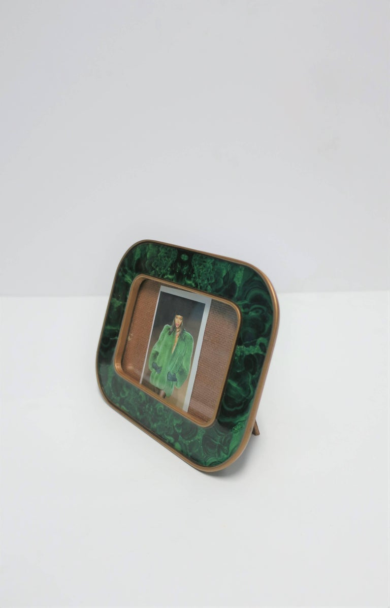 Modern Green Malachite Lacquer and Brass Picture Frame For Sale 2