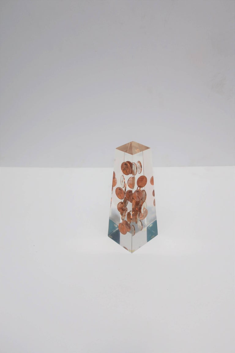 American Modern Lucite and Penny Obelisk, ca. 1970s For Sale