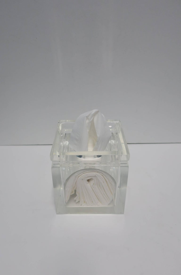Modern Lucite Tissue Box in the Style of Charles Hollis Jones For Sale