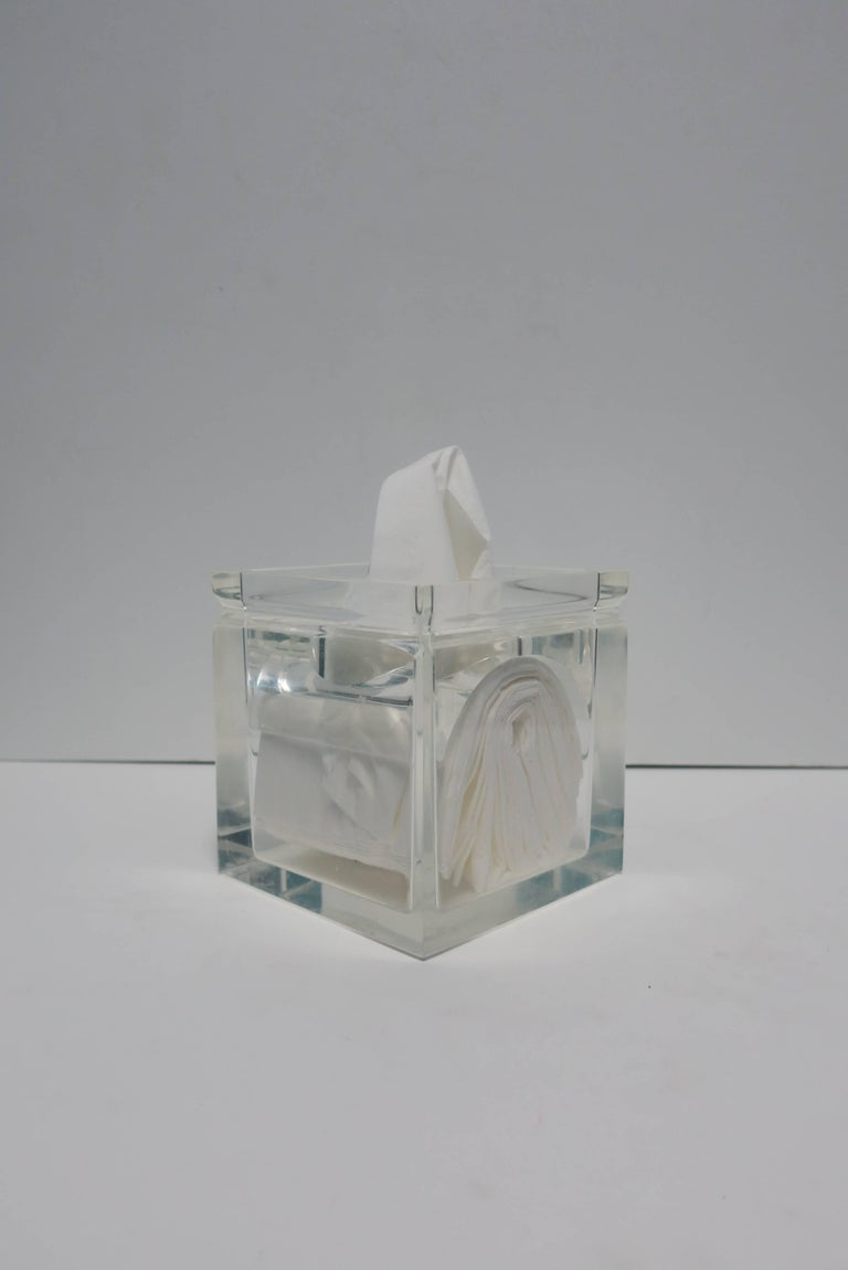 American Lucite Tissue Box in the Style of Charles Hollis Jones For Sale