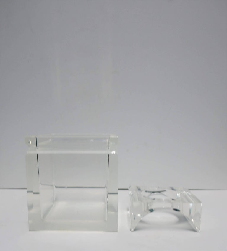 Late 20th Century Lucite Tissue Box in the Style of Charles Hollis Jones For Sale