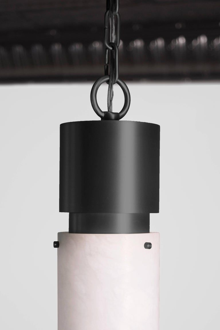 Post-Modern Contemporary 000 Pendant in Blackened Brass and Alabaster by Orphan Work, 2018 For Sale