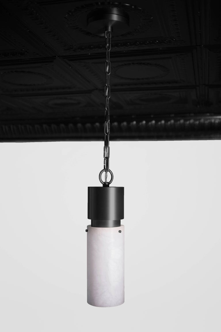 Italian Contemporary 000 Pendant in Blackened Brass and Alabaster by Orphan Work, 2018 For Sale