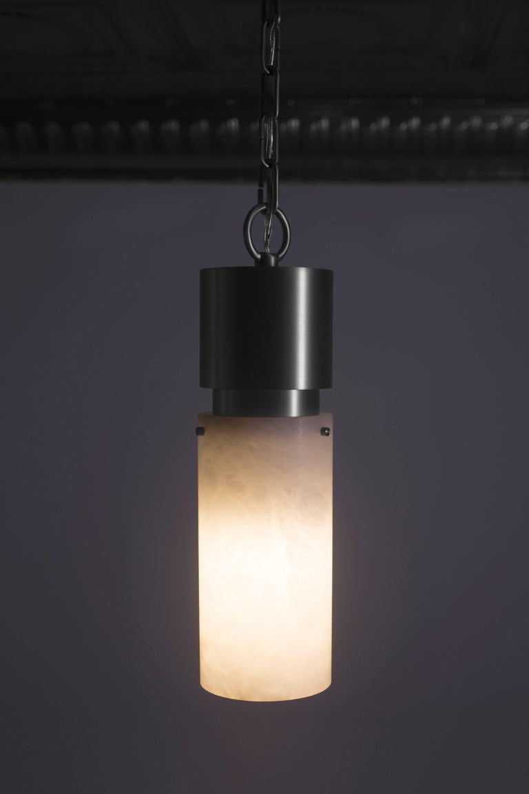 Contemporary 000 Pendant in Blackened Brass and Alabaster by Orphan Work, 2018 For Sale 7