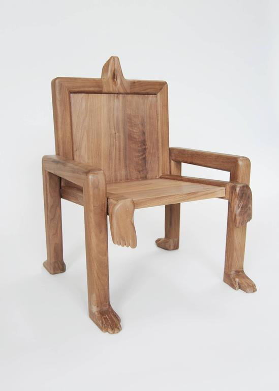 """Fictional Furniture explores a fascination with development and design, striving to create """"subconscious"""" heirlooms by injecting high design into the minds of children.  Crawl Chair, 2015 Shown in waxed walnut. Measures: 29"""" H x 21"""" W x 21 1/2"""" D x"""