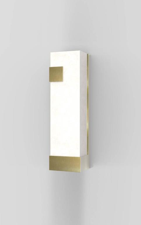 Contemporary Horizontal Brass and Alabaster 003 Sconce by Orphan Work, 2017 6