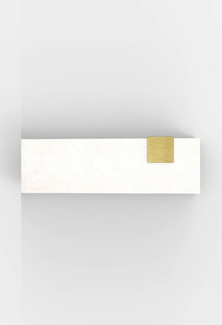 Blackened Contemporary Horizontal Brass and Alabaster 003-2C Sconce by Orphan Work, 2018 For Sale