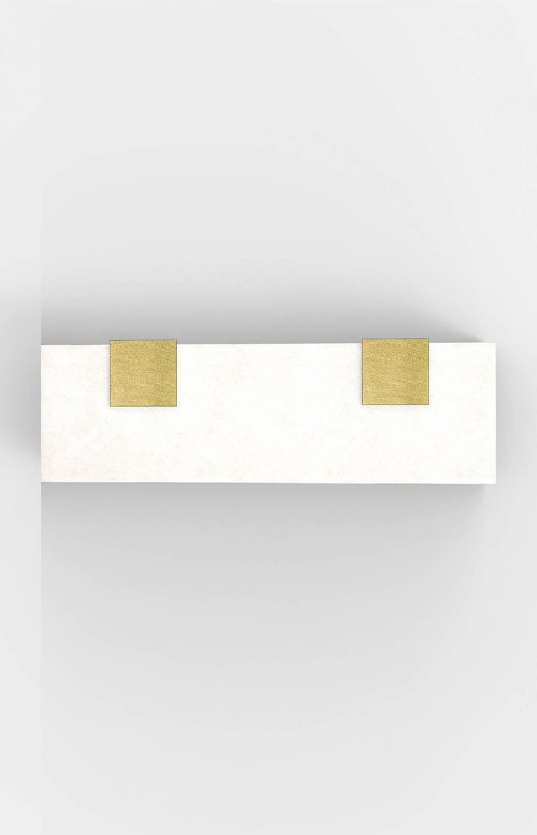 Contemporary Horizontal Brass and Alabaster 003-2C Sconce by Orphan Work, 2018 In Excellent Condition For Sale In New York, NY