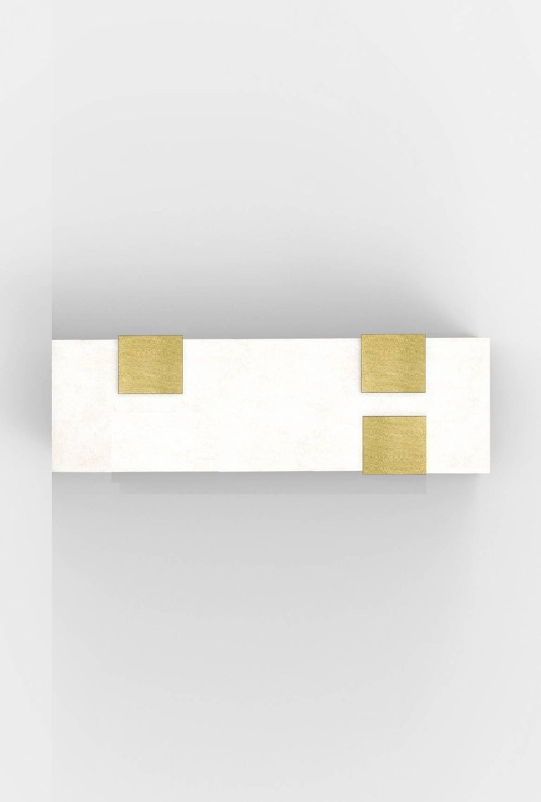 Nickel Contemporary Horizontal Brass and Alabaster 003-2C Sconce by Orphan Work, 2018 For Sale
